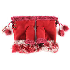 Winter Fingerless Leather Gloves Hand Wrist W/Rabbit Fur- Red NWT Free Ship