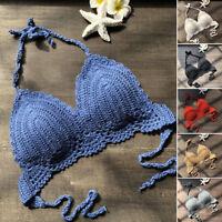 Womens Crochet Lace Cami Tank Crop Bralette Top Boho Bralet Bra Beach Bikini UK