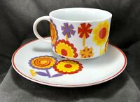 Retro Mod Flower Power Soup Bowl Matching Plate Set Floral Red Orange Mug Cup