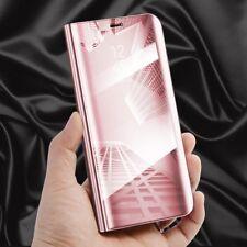 Transparente Ver Espejo Smart funda Fucsia para Huawei P20 Lite Wake Up NUEVO