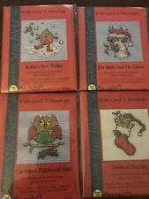 4 Mouseloft Stitchlets Small Counted Cross Stitch Kits Christmas Card Envelope