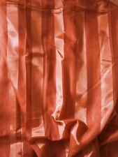1 Store Vorhang Gardine Streifen transparent terracotta Kräuselband H/B 225 x450