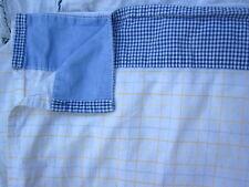 Tommy Hilfiger Twin Flat Sheet Blue Yellow Plaid Blue Gingham Check Border Denim