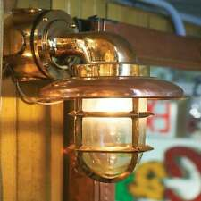 Nautical Marine Brass Passage Wall Light With Copper Extra Shade & Junction Box