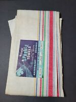 "STEVENS Linen Kitchen Towel Ivory red blue stripes NWT NOS Large 31"" x 16"""