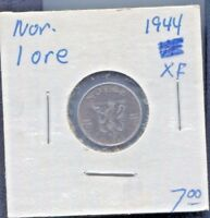 NORWAY-BEAUTIFUL HISTORICAL IRON 1  ØRE, 1944, UNDER GERMAN OCCUPATION KM# 387
