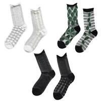 Women AB Irregular Jacquard Crew Socks Striped Leaf Sheer Crystal Fiber Hosiery