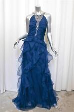 BADGLEY MISCHKA COLLECTION Blue Silk Crystal Ruffle Formal Gown Dress 16 NEW