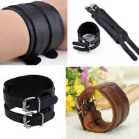 Mens 2 Layer Punk Hand Band Genuine Leather Bracelet Wristband Cuff Bangle