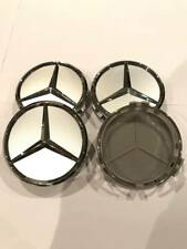 Mercedes Silver Alloy Wheel Centre Hubs Caps 75mm with Chrome Star x 4! New