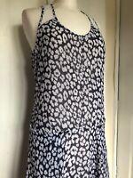 DKNY US 6 / UK Size 8 Blue Floral Pockets High Low Animal Print Summer Dress