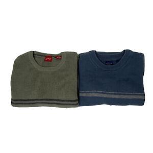 Arrow Mens Lot Of 2 Long Sleeve Knit Sweater Crew Neck Stipe Large Green Blue