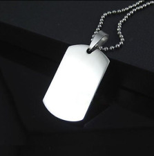 Stainless Steel Army ID Dog Tag Military Pendant Chain Silver Vouge Necklace CA