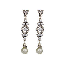 New Chic Deco Gray Pearl Rhinestone Floral Drop Earrings Elegant Wedding Jewelry