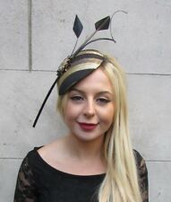 8a3062507d338 Large Black Gold Statement Feather Hat Fascinator Headband Races Hair Vtg  6629