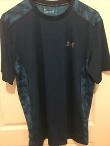 Under Armour Mens Active Stretch T Shirt Aqua Teal Blue Size Large Brand New