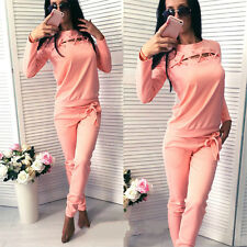 Women 2pcs Tracksuit Sweats Sweatshirt Jogging Pants Sets Sport Wear Casual Suit