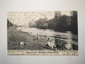CPA Juziers France Pastures along the Seine Social History 1906 Postcard, S77563