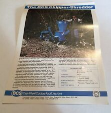 BCS Wood Chipper Shredder Tracmaster Original 1980s Vintage Sales Brochure