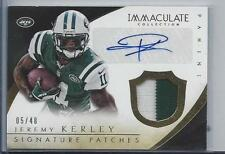 JEREMY KERLEY 2014 IMMACULATE 2 COLOR JETS SIGNATURE PATCH AUTO #D 5/48
