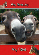 Personalised Donkey Birthday Card - Any Name/Greeting/Occasion