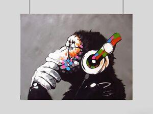 BANKSY THINKING MONKEY DJ HEADPHONES POSTER PRINT GRAFF GRAFFITI ART A3 A4 SIZE