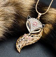 Damen Halskette Schmuck Collier MIT Anhänger Gold lang Kette Fuchs Frauen M21