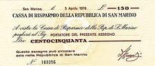 CASSA RISPARMIO SAN MARINO 1976 BANKNOTE MINIASSEGNO LIRE 150 FIOR DI STAMPA UNC