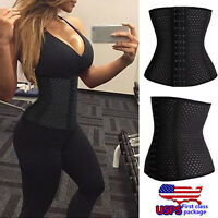 Spiral Steel Boned Waist Training Cincher Underbust Corset Body Shaper Black USA