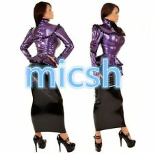 Latex Rubber Gummi Kostüm Top and Dress Elegant Uniform Size XS-XXL
