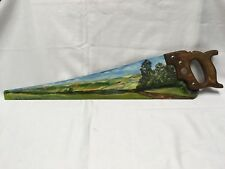 RARE VINTAGE PAINTED FOLK ART HAND SAW MARCELLA SINGED ROLLING FARM LANDSCAPE
