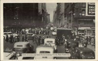New York City Fifth Ave & 42nd Old Cars c1940 Postcard