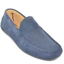 mocassino car shoes uomo blu forato comfort man casual made in italy vera pelle