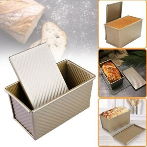 Pullman Loaf Pans Lid Non-Stick Bakeware Bread Toast Mold Aluminum Corrugated