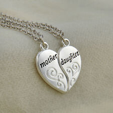 2PCS/SET Mother Daughter Silver Love Heart Pendant Necklace Chain Family Gift