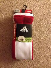 New Adidas Mens Softball Large Baseball Red White Socks Climalite 2 Pair Sz 9-13