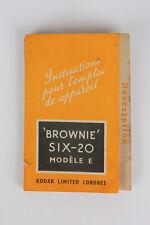 """BROWNIE SIX-20 MODÈLE E  """"Instructions pour l'emploi de appareil"""" MANUAL (FR)"""