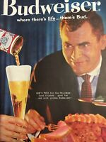 Vintage 1960 BUDWEISER Beer Anheuser Busch Holiday Drink Print Ad There's Bud