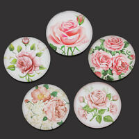10Pcs Round Glass Pink Rose Flowers Flatback Cabochons Jewelry Diy Crafts 25mm