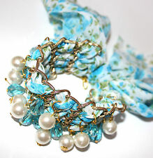 Mesh Cloth Material Tie Chain Link Wrap Dark Aurora Borealis Mystic Bracelet