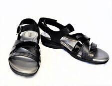 Earth Shoe Women 9.0D 40 W Aster Slingback Sandal Black Leather Hook Loop Buckle
