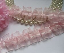 "1-1/2"" Pink Ruffle Box Pleated Sheer Organza Lace Trims-1 Yard-T470K"