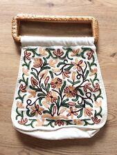 Embroidered Floral Carpet Bag Raffia Straw Handle Cream Green Thick Boho Arty