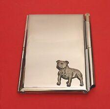 Staffordshire Bull Terrier Chrome Notebook / Card Holder & Pen Christmas Gift