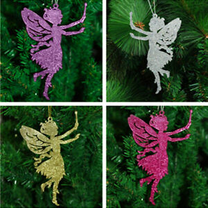 Pack of 10 Glitter Fairy Christmas Tree Hanging Pendant Decorations
