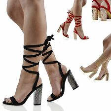 Womens High Block Heels Ladies Lace Up Shoes OpenToe Faux Suede Sandals Size 3-8