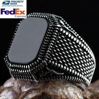 925 Sterling Silver Turkish Jewelry Polite Black Onyx Stone Mens Ring All Size