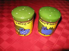 Robin Sterling designed Salt and Pepper Shaker in yellow & green cat pattern