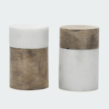 2 Pack Wood and Marble Salt & Pepper Shakers Simple and Elegant Design R1..