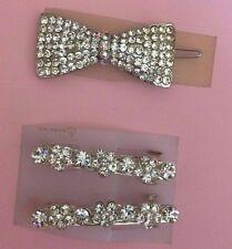 (3) Art Deco Crystal Hair Bow Clip and Crystal Barrettes!